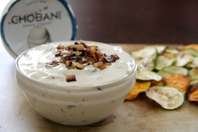 skinny french onion dip with sweet potato and zucchini chips