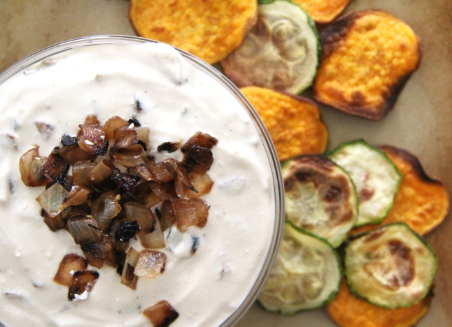 skinny french onion dip with sweet potato chips and zucchini chips